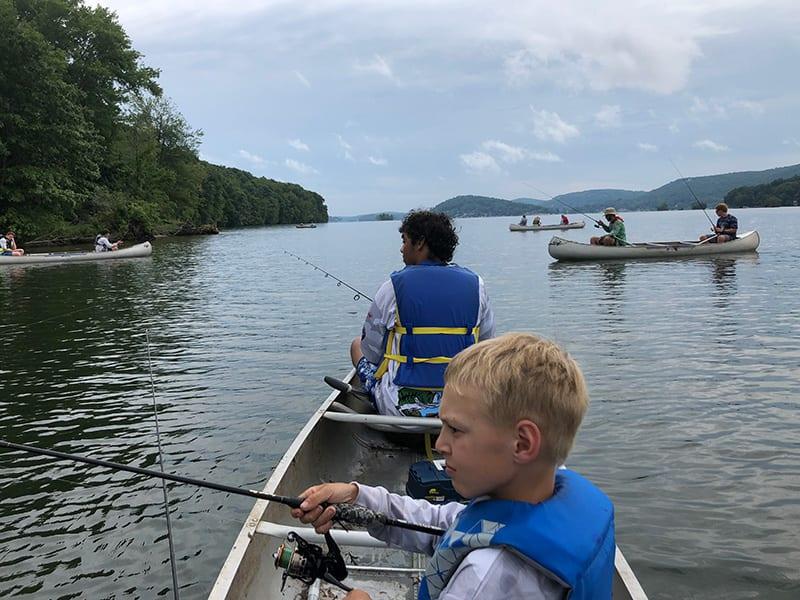 fishing from canoe